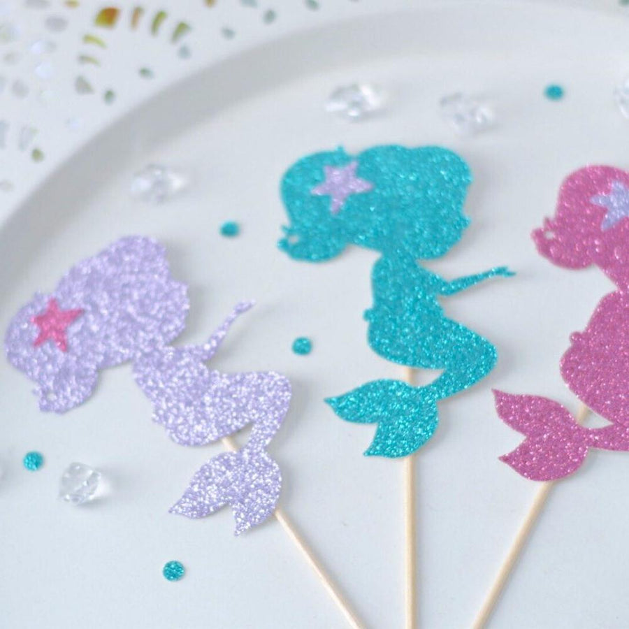 silver, teal and pink sparkle mermaid cake toppers