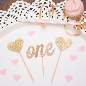 number one with two hearts gold glitter
