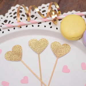 three gold sparkle glitter cupcake toppers