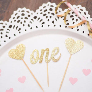 number one with two heart glitter cupcake toppers