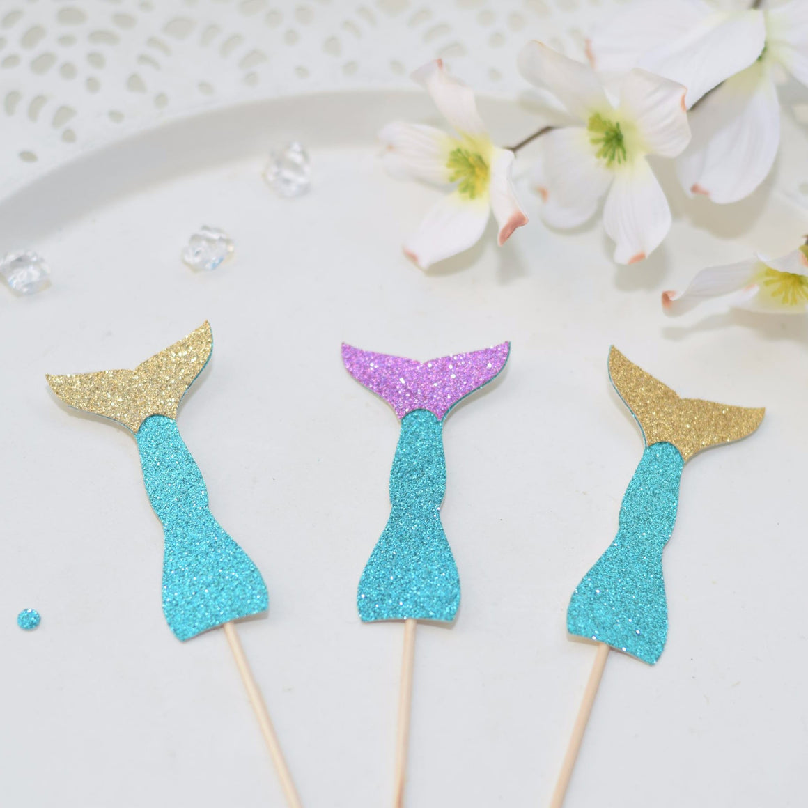 sparkle glitter teal, gold and purple mermaid tail cupcake toppers