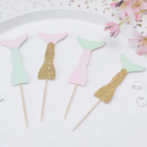 mint, gold and pink mermaid tail cupcake toppers