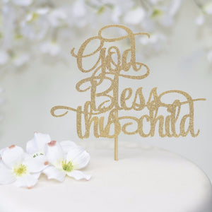 God Bless This Child gold sparkle cake topper closeup