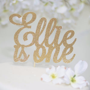 Ellie is one gold sparkle cake topper for first birthday