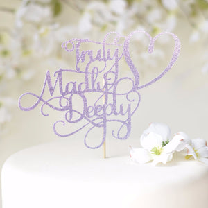 Truly Madly Deeply lavender sparkle glitter cake topper in white cake