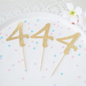 4 4 4 gold sparkle cupcake toppers