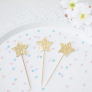 Gold sparkle star mini cupcake toppers