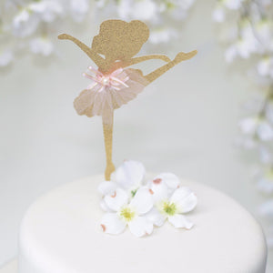 Gold sparkle glitter ballerina cake topper with pink tutu detail