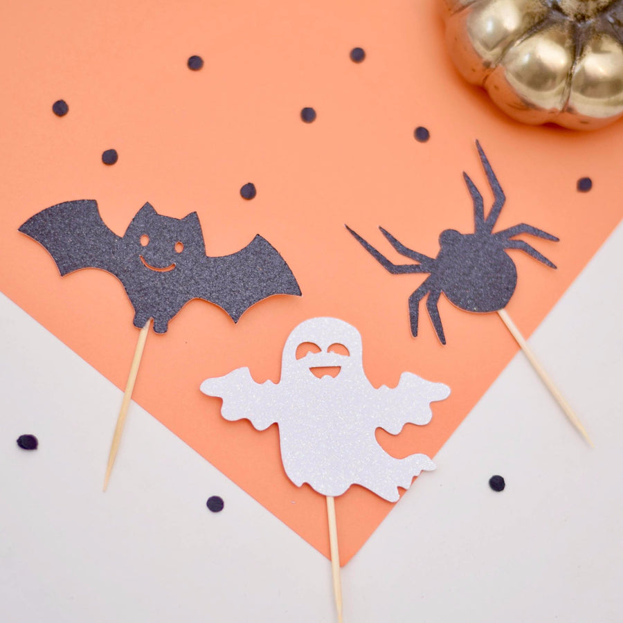 black and silver ghost, bat, spider decorations for cupcake decorations