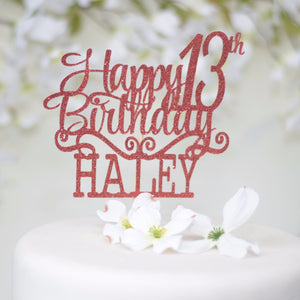 Happy 13th Birthday Haley in pink sparkly font