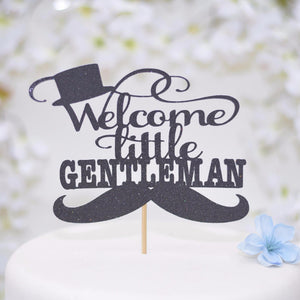 Welcome Little Gentleman black sparkle cake topper with top hat and mustache