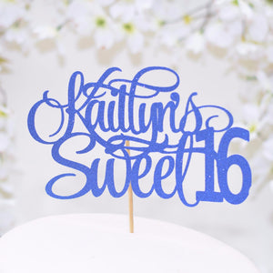 Kaitlin's sweet 16 blue sparkle cake topper