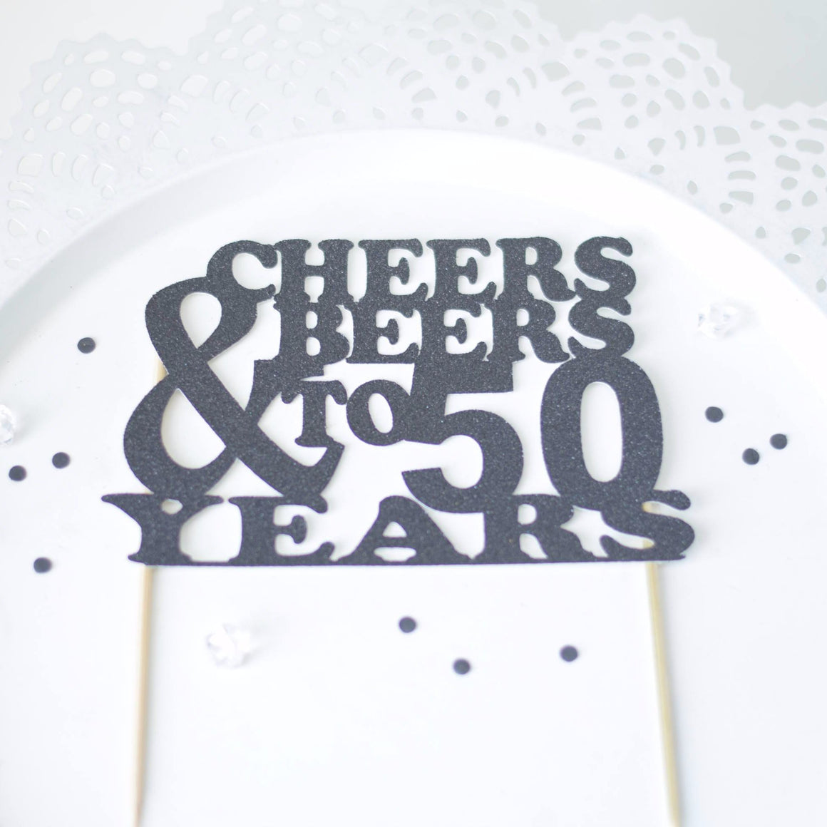 Cheers & Beers to 50 Years black glitter cake topper sign