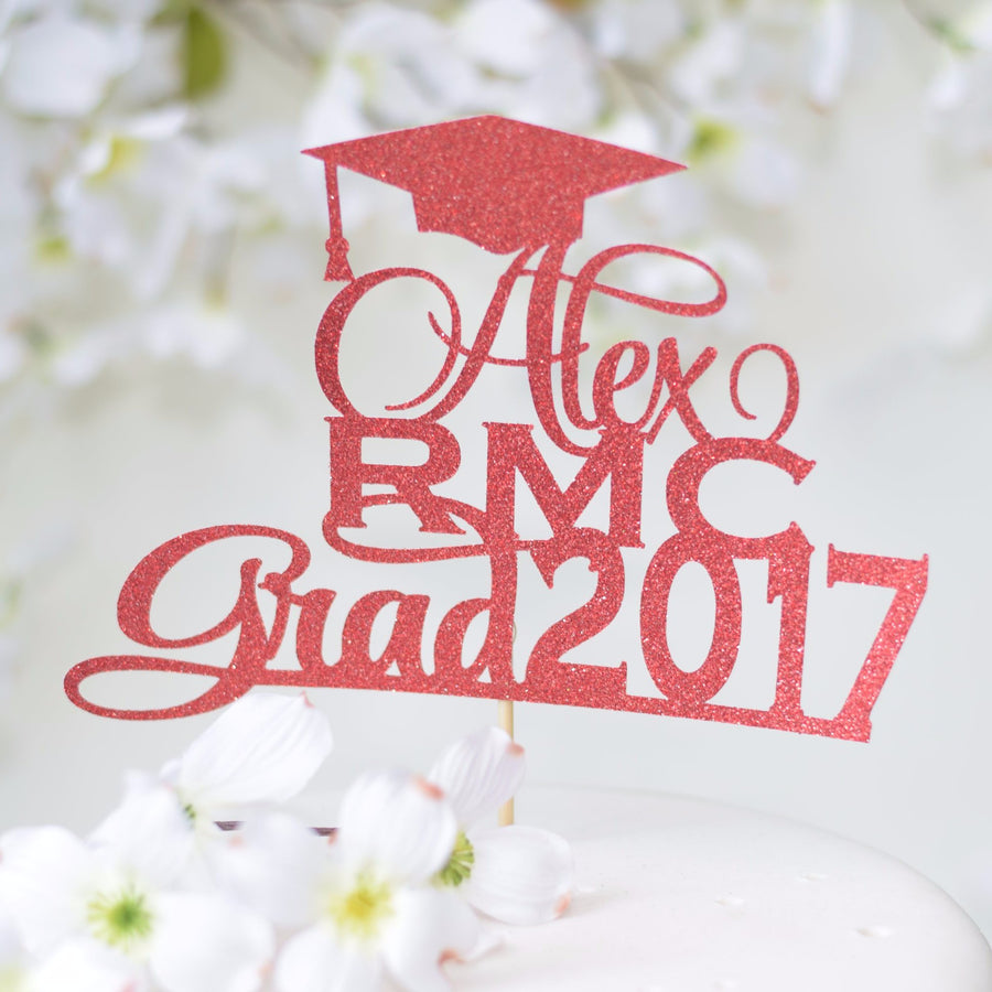 Rachel BSN KSU Grad 2017 gold glitter cake topper with graduation cap detail
