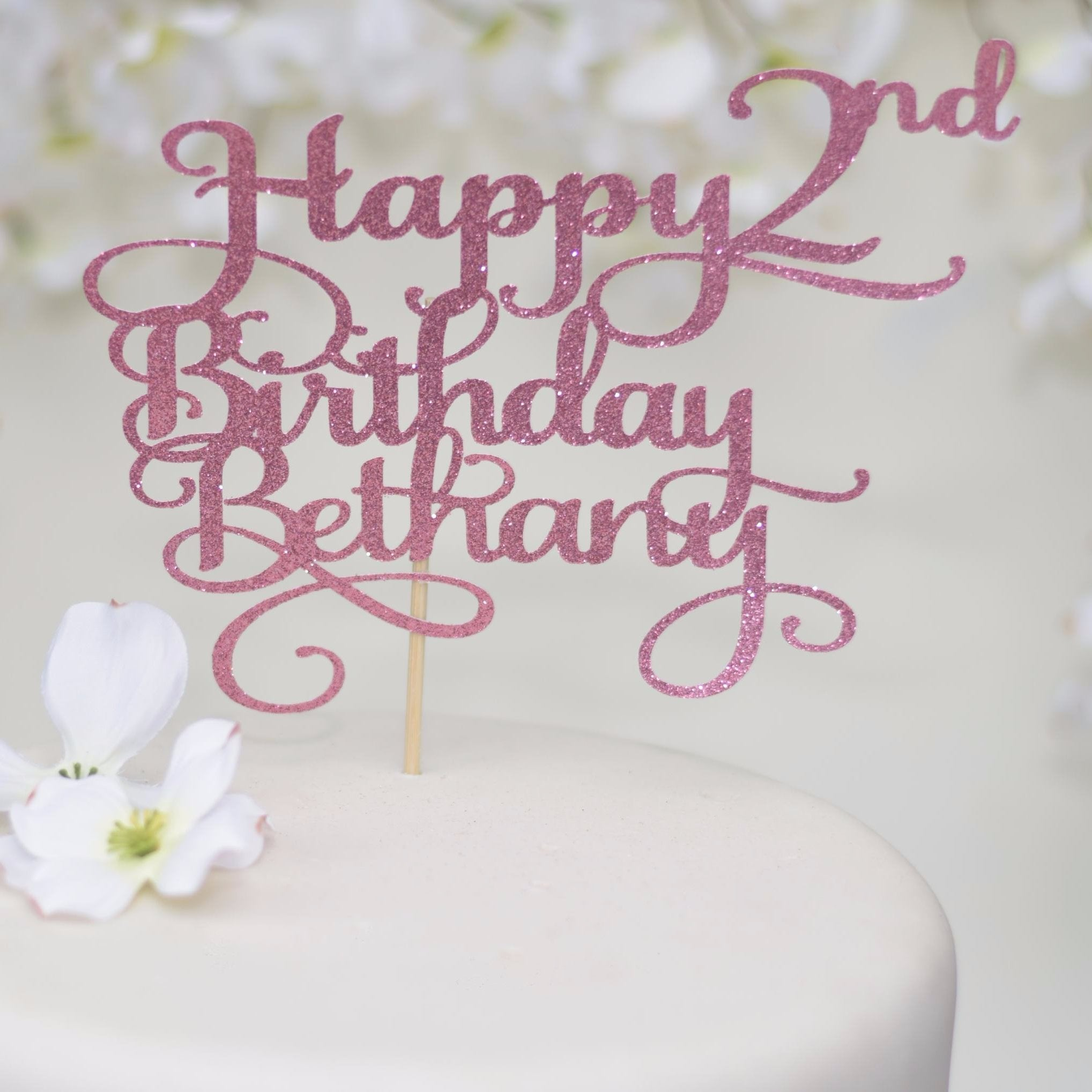 Happy 2nd Birthday Bethany Pink Glitter Sparkle Cake Topper