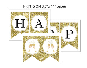 Happy new year banner printing guide, prints on 8.5 x 11 paper