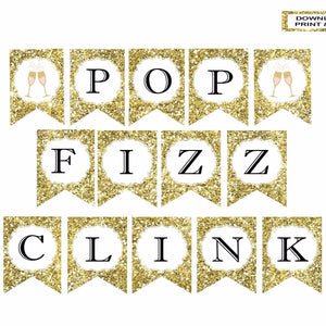 Pop fizz clink gold sparkle banner with pink and gold champagne glass details