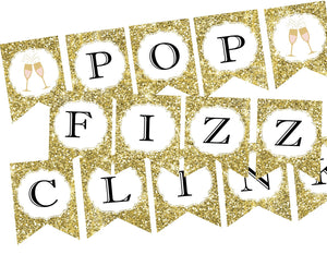pop fizz clink gold glitter and champagne themed banner for wedding or bachelorette parties