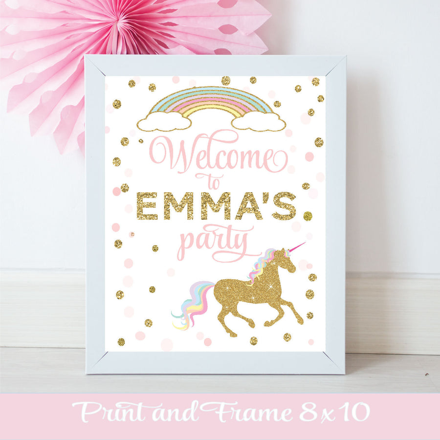 Welcome to Emma's Party gold sparkle unicorn and rainbow digital download