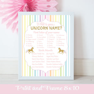 Unicorn Name chart with letters and birth months to discover your unique Unicorn name for birthday party
