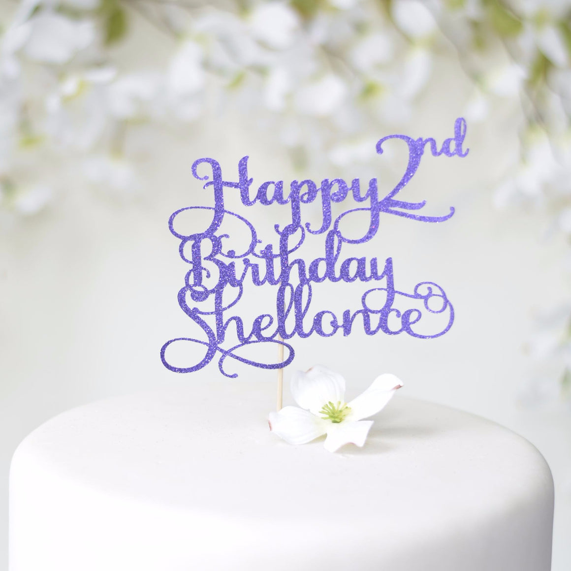Happy 2nd Birthday Shellonce blue glitter cake topper