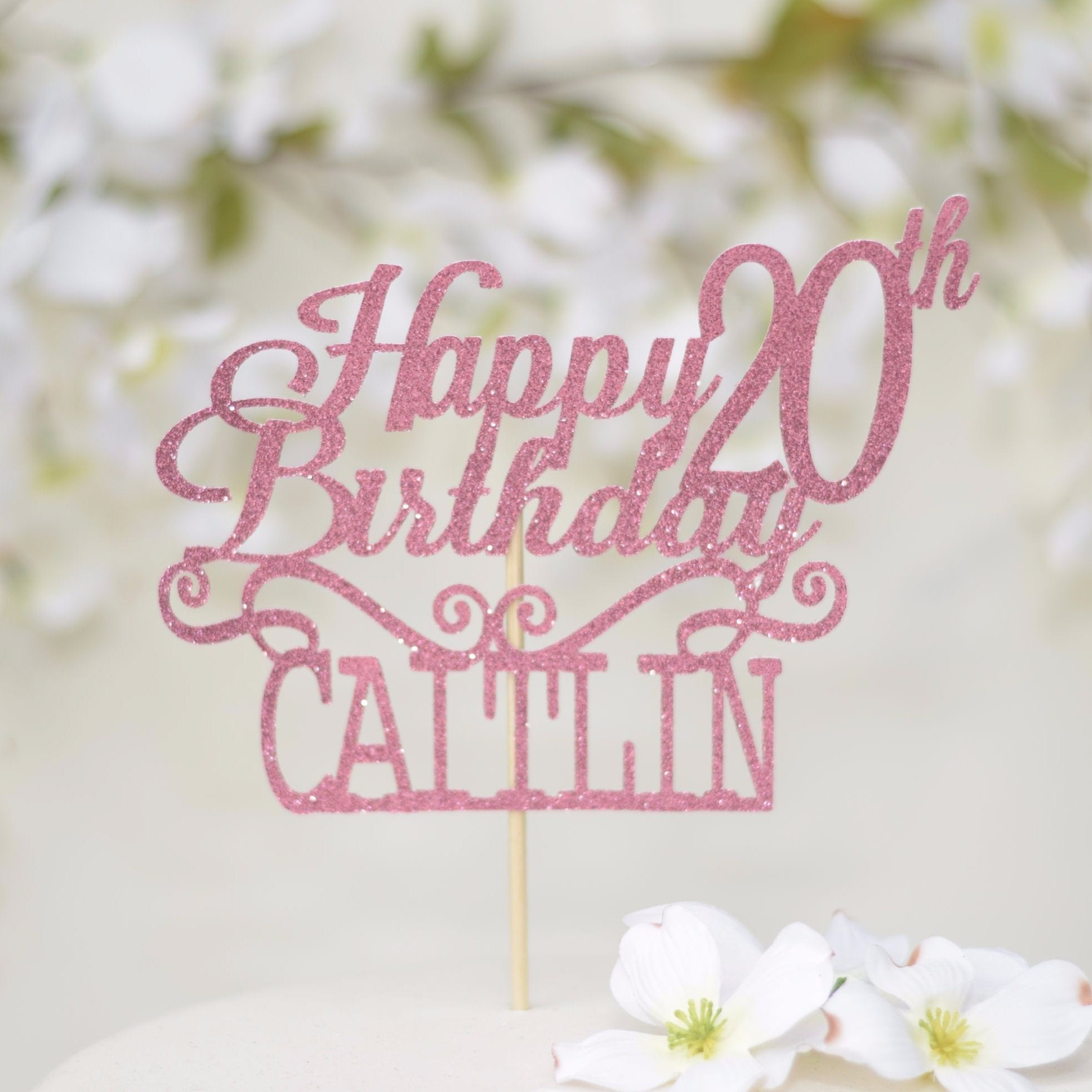 Happy 20th Birthday Caitlin In Pink Sparkly Font