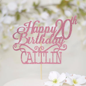 Happy 20th birthday Caitlin sparkly glitter cake topper on white cake