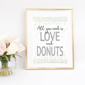 All you need is love and Donuts silver and black sparkle digital download