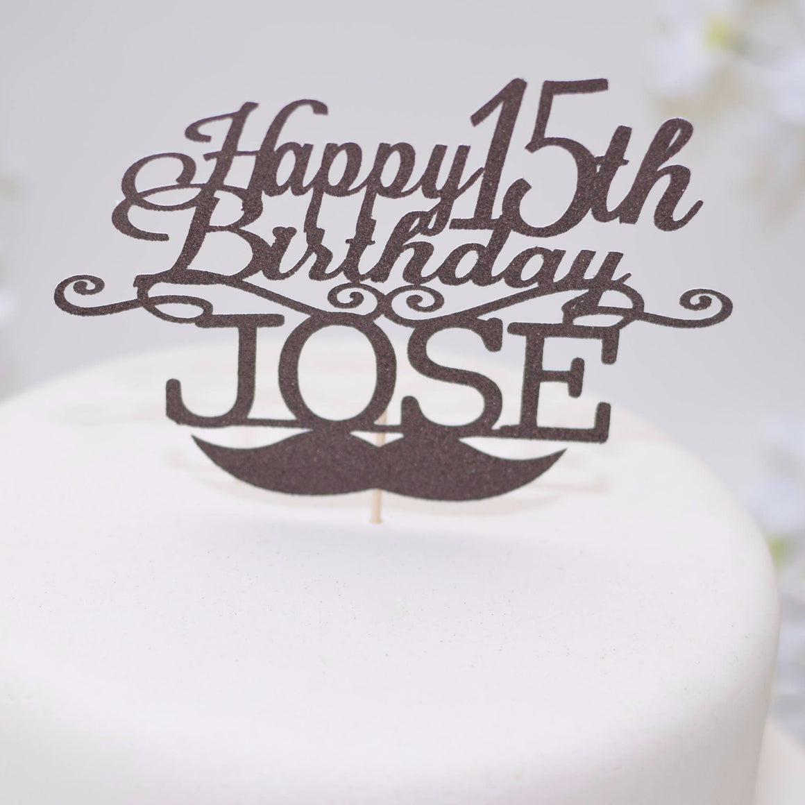 Happy 15th birthday Jose black cake topper with moustache