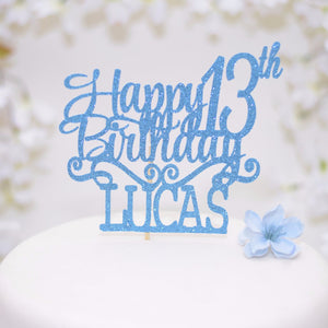 Happy 13th birthday Lucas blue sparkle cake topper