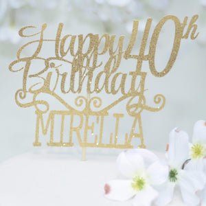 Happy 40th Birthday Mirella in gold sparkly font