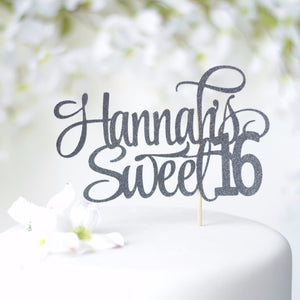 Hannah's sweet 16 black cake topper with sparkly glitter