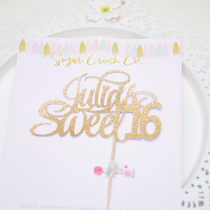 Julia's sweet 16 gold sparkle cake topper on Sugar Crush Co. paper