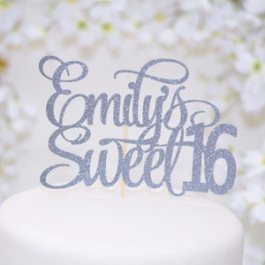 Emily's sweet 16 grey sparkle cake topper on white cake