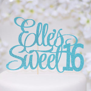 Elle's sweet 16 teal coloured sparkle cake topper