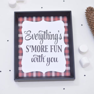 Everything's Smore Fun With You digital download printable file with red plaid details in a black frame
