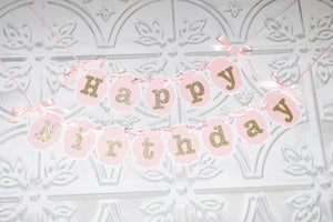 Happy Birthday pink and gold sparkle banners