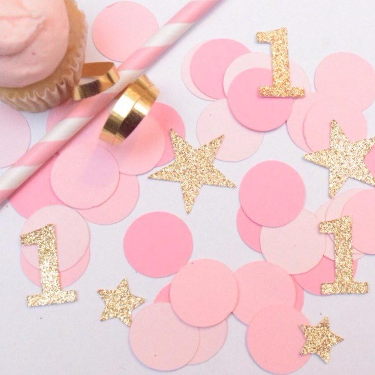 Gold sparkly 1 and star and pink circle confetti