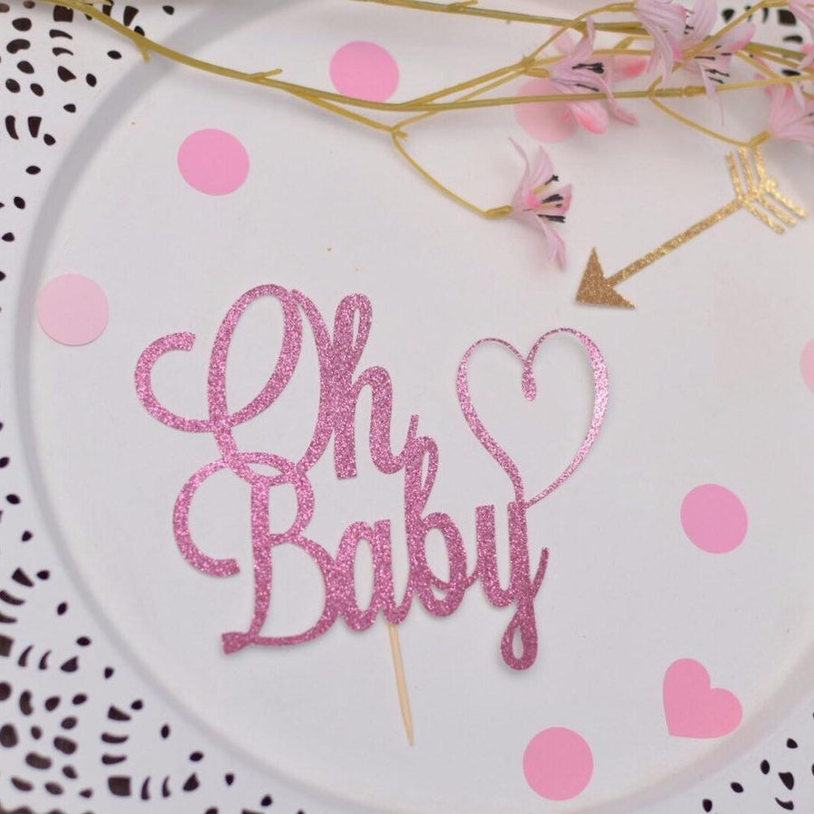 Oh Baby pink glitter sparkle heart cake topper