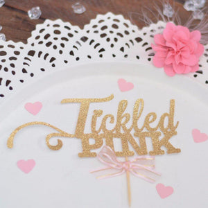 Tickled pink gold sparkle glitter cake topper