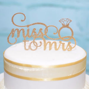 miss to mrs gold sparkle cake topper with diamond ring details
