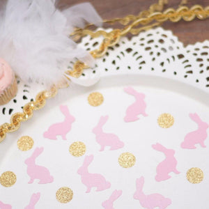 pink bunny and gold glitter circle decorations