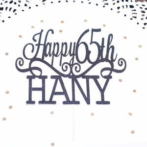 Happy 65th Hany black glitter cake topper