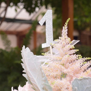 Number 1 silver sparkle table numbers