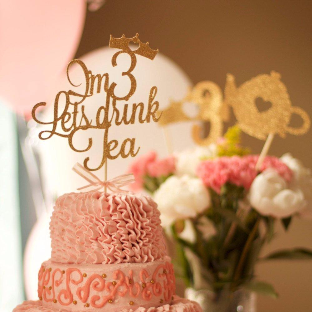 I'm 3 Lets drink tea with crown cake topper on pink frilly cake