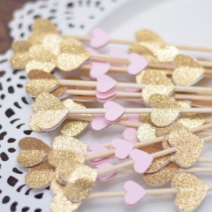 gold sparkle and pink heart mini donut skewers donut decoration
