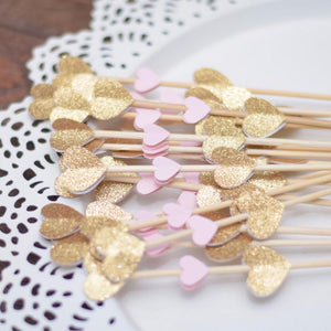 mini heart glitter and pink donut skewers