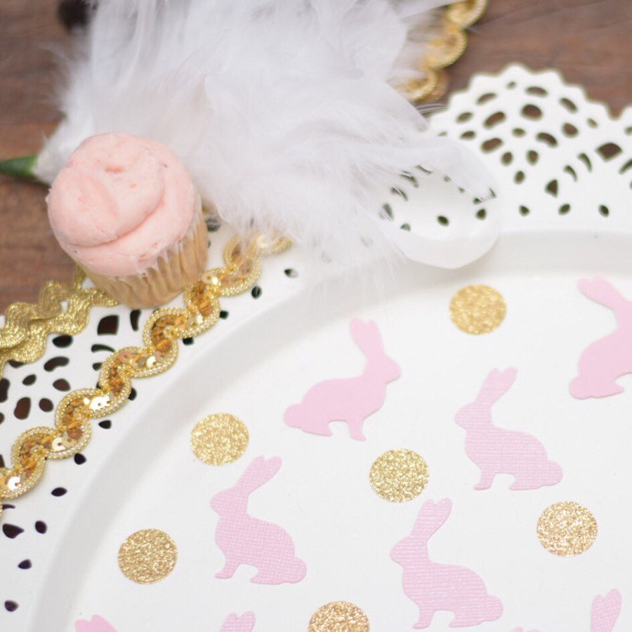 gold sparkle circles and pink bunny confetti