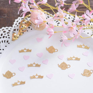gold sparkle teapot and crown alice in wonderland themed party decorations