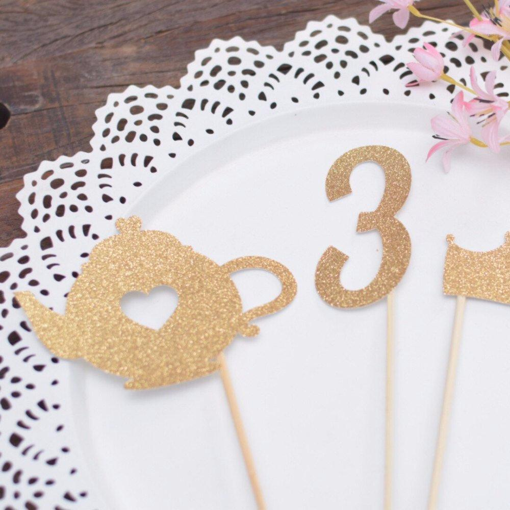 Number 3 and teapot sparkly glitter cake toppers